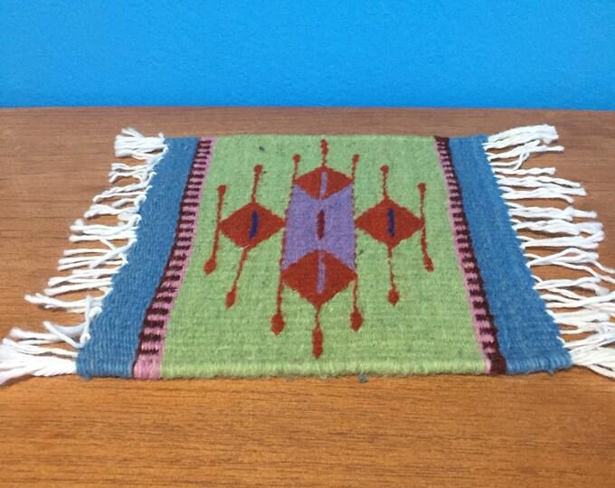 """Zapotec hand woven merino wool trivet hot pad 8"""" x 8"""""""
