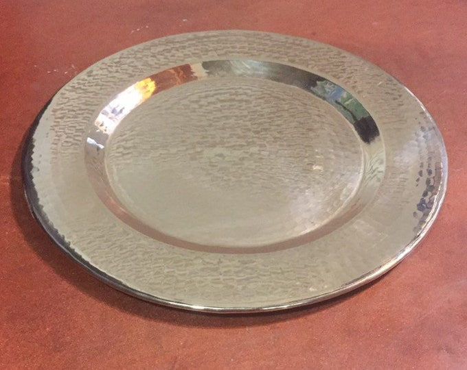 "Pure Hammered Copper Charger Plate - 8"" diameter"