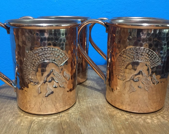 """4-pack of 16oz Moscow Mule Copper Mugs, hammered w/ Colorado """"C"""" with mountains logo"""