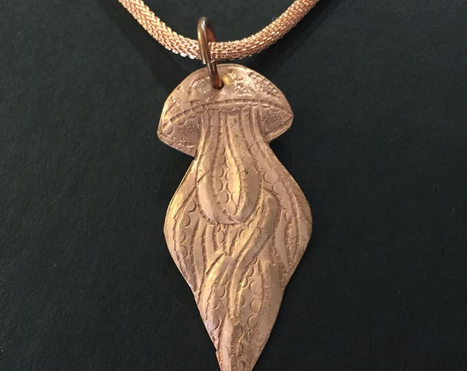 Handcrafted Pure Hammered Copper Jellyfish Pendant