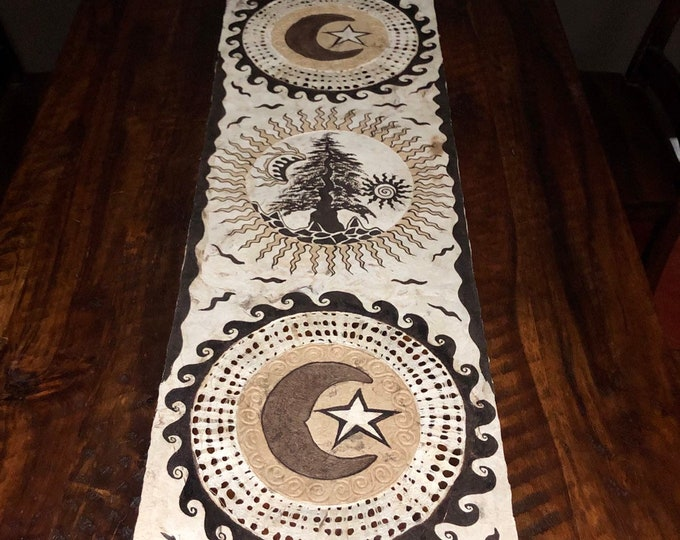 Handmade Amate Paper Wall Art with Moons and Tree from Mexico
