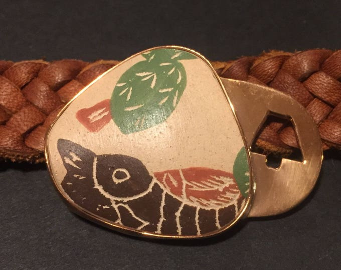 One of a Kind Mata Ortiz Leather Bracelet -decorative pottery shard set in Copper with tan leather band