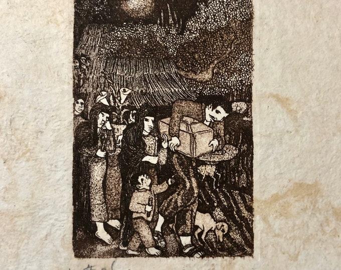 El Angelito (The Little Angel) by Nicolas de Jesus. Limited Edition Aquatint print on Amate bark paper.