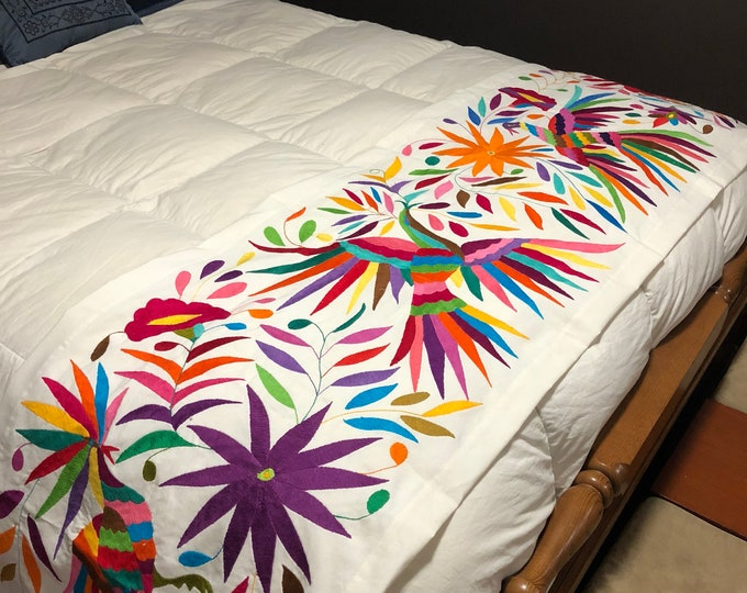 """Large mexican Otomi hand embroidered bed scarf runner partial coverlet table runner (102"""" x 23"""")"""