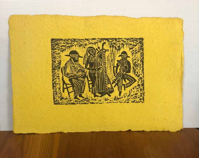 Wood Block Print on Handmade Paper by Taller Leñateros, Chiapas, MEX