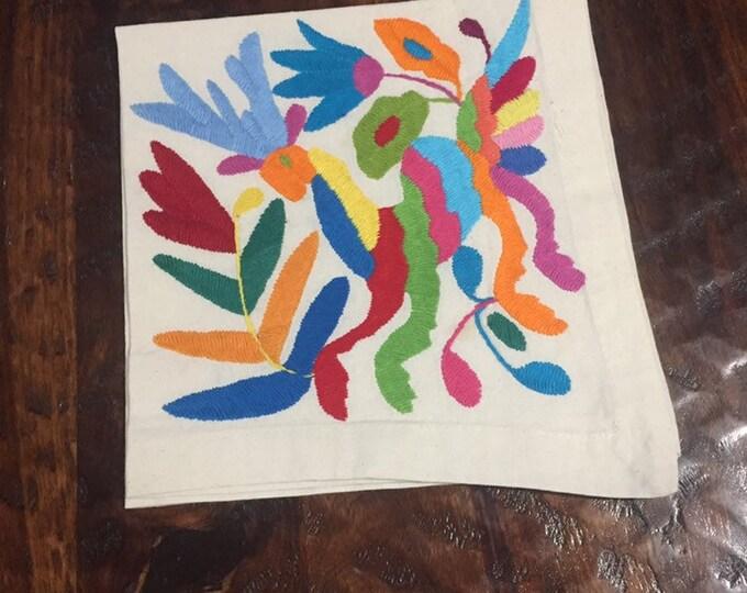 "Otomi hand embroidered 19"" x 19"" muslin napkin with spirit animal"