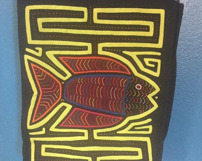 Kuna Mola Art Design Shoulder Bag Purse Handbag Handcrafted in Colombia - fish