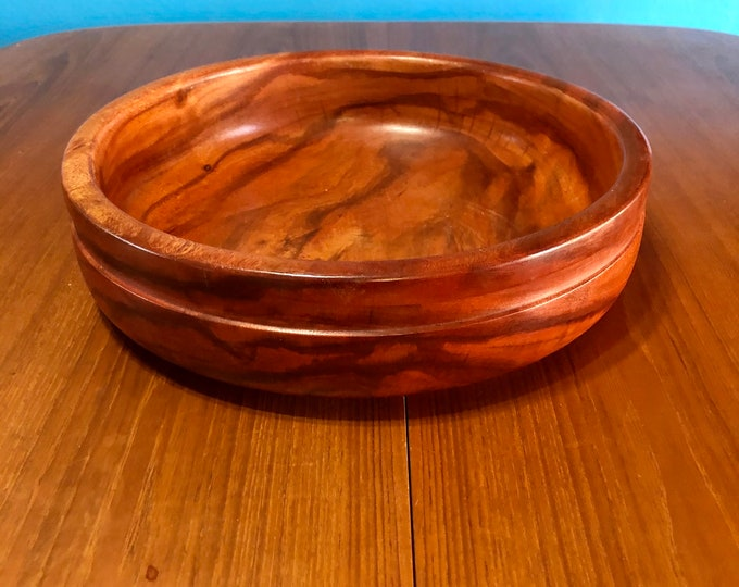 Hand carved wood serving bowl made of Guamuchil wood from Mexico