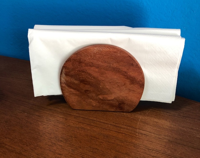Hand carved wood napkin holder made with Guamuchil wood from Mexico