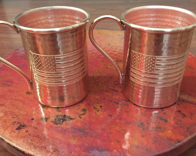 2-pack of 16oz Moscow Mule Copper Mugs, hammered w/ USA Flag engraved logo