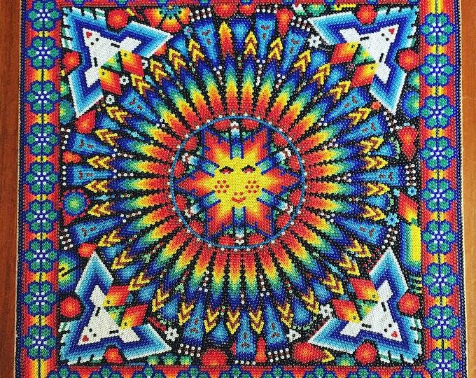 "Huichol Bead Painting - 12""x 12"" Tablet by Felix Bautista Lopez"