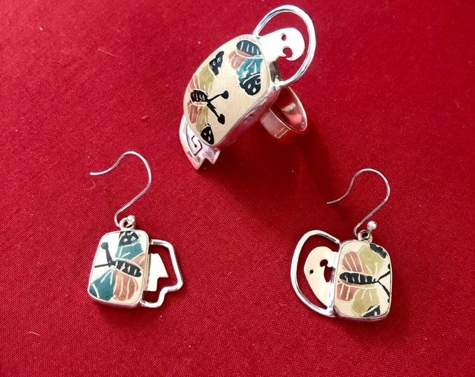 One of a Kind Mata Ortiz Jewelry Set Ring and Earrings -Silver and Copper with butterfly shards