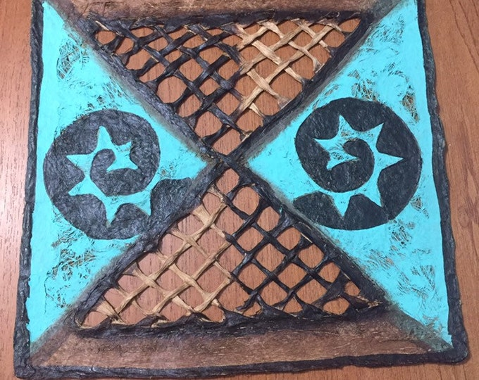 Amate Bark Paper Wall Art with Turquoise Woven Design