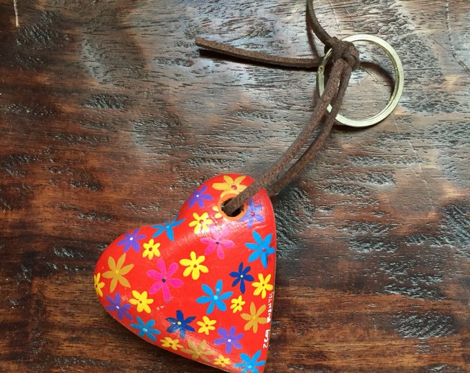 Hand carved hand painted wood heart keychain