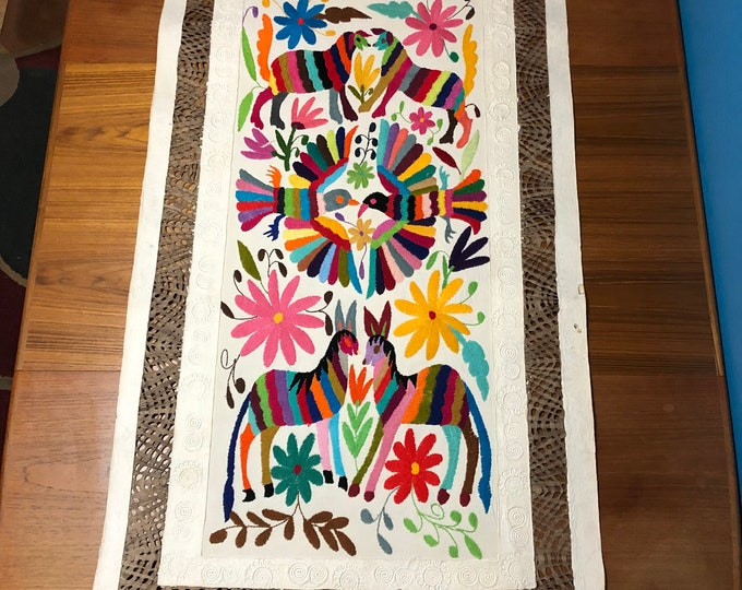 Large Amate Paper Wall Art with Otomí Hand Embroidered Multicolor Birds, Flowers, and Spirit Animals