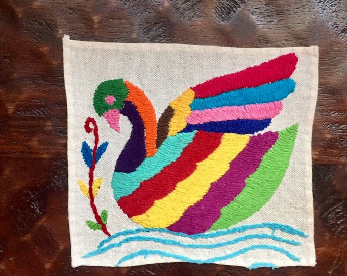 """Otomi hand embroidered  muslin coaster/cocktail napkin / frame-able art - with swan approx. 5"""" x 5"""""""