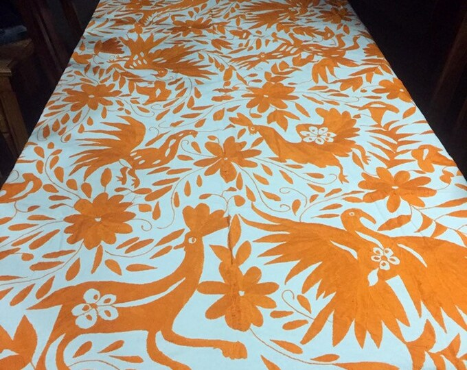 Large Otomí hand embroidered tablecloth / bed spread / frame-able art (approx. 6' x 6') - Orange