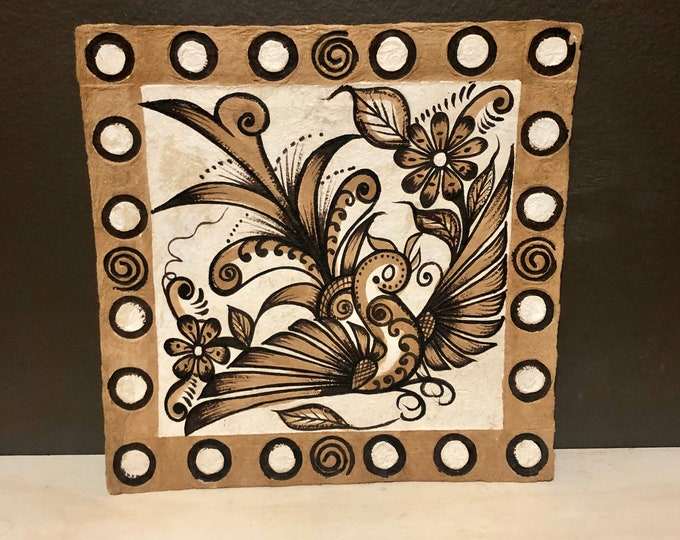 Handmade Amate Paper Wall Art with bird from Mexico