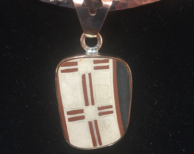 One of a Kind Mata Ortiz Three Piece Set -Pottery Shards set in Copper