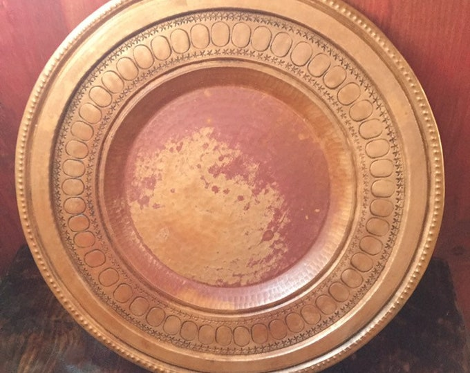 "Pure Copper Decorative Charger Plate - 11 3/4"" diameter"