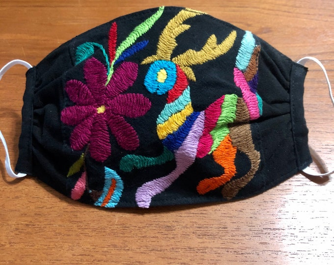 Handmade Muslin Cotton Face Mask with Otomi Embroidery Designs - Black