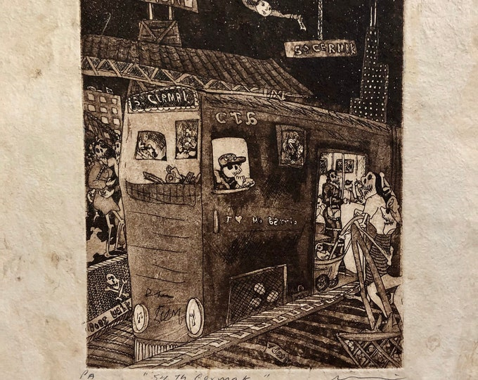 54th to Cermak by Nicolas de Jesus. Artist Proof. Aquatint print on Amate bark paper.