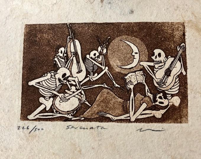 Sereneta (Serenade) by Nicolas de Jesus. Limited Edition Aquatint print on Amate bark paper.