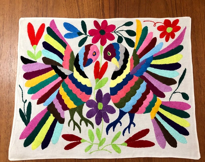 "Hand embroidered Otomí placemat / frame-able art - (approx. 17"" x 13"") - multi-color"