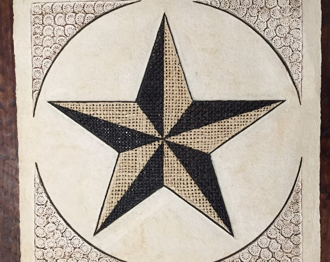 """Amate Bark Paper Wall Art with Star Design (24"""" x 24"""")"""