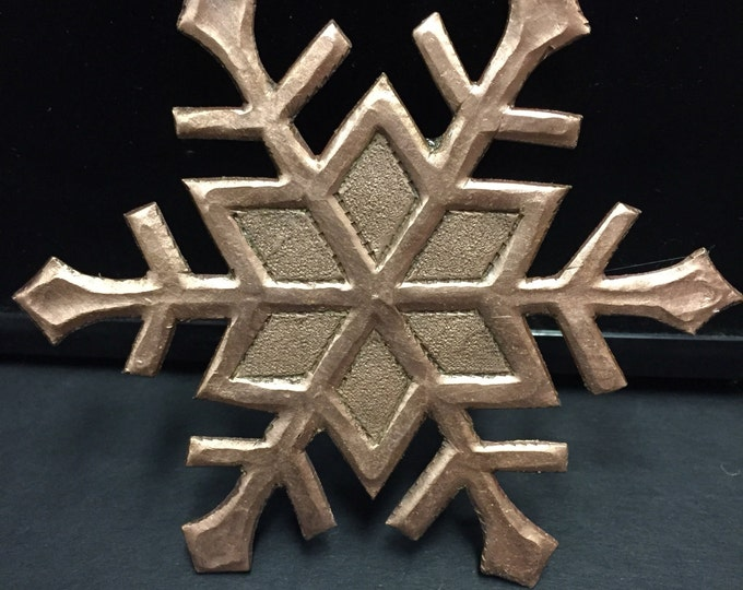 Handcrafted Pure Hammered Copper Snowflake Fridge Magnet