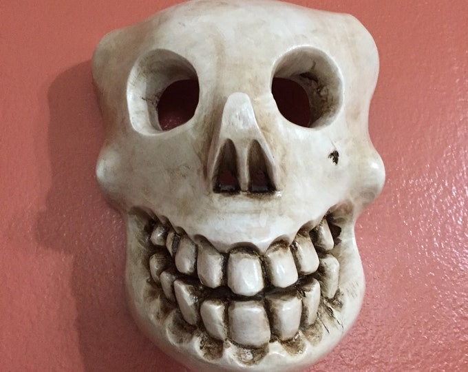 Mexican Decorative Indigenous Skull Hand Carved Wood Wall Mask