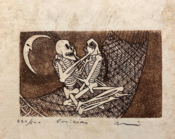 Caricias (Petting) by Nicolas de Jesus. Limited Edition Aquatint print on Amate bark paper.