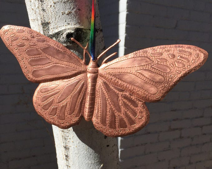"Handcrafted Pure Hammered Copper Hanging Butterfly 10""x5"""
