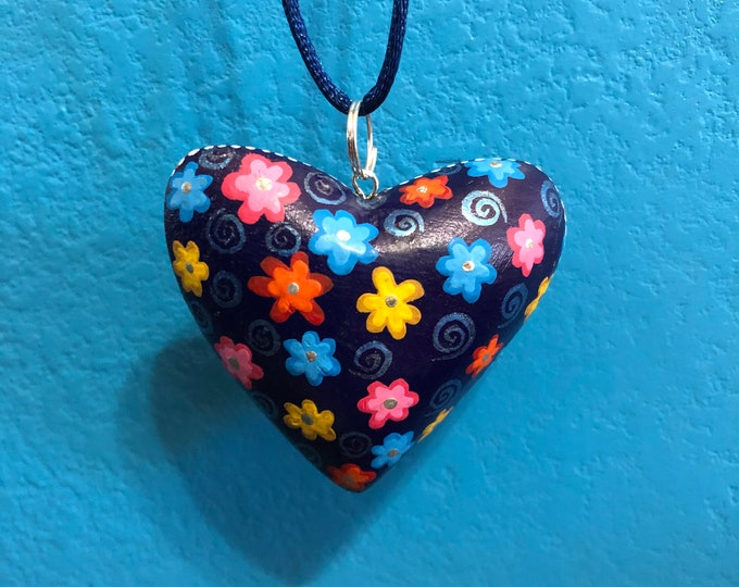 Hand carved wood Alebrije heart necklace pendant by Zeny Fuentes