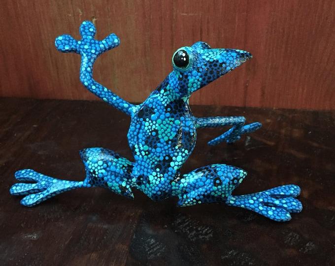 Alebrije Blue Frog by Roberto and Esperanza Martinez