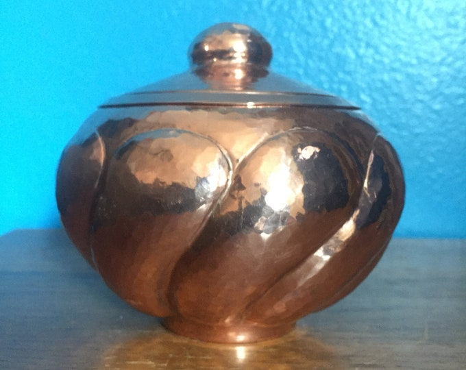 Hammered Copper Round Spiral Design Storage Container with Lid