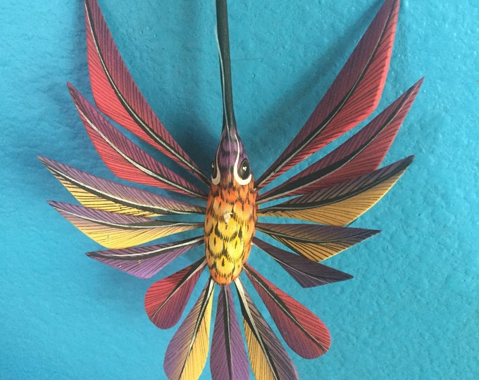 Alebrije Purple Hummingbird by Zeny and Reyna Fuentes