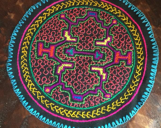 "Peruvian hand embroidered round table coaster (8"" diameter)"
