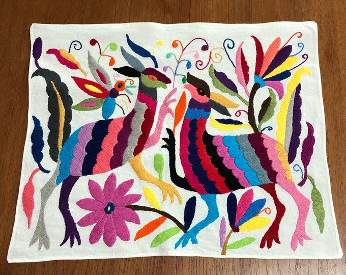 "Hand embroidered Otomí placemat /frame-able art (approx. 17"" x 13"") - multicolor spirit animals and flowers."