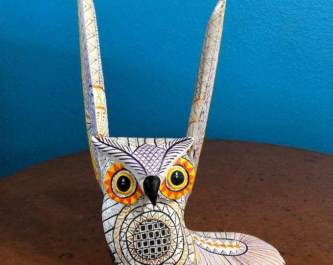 Alebrije Owl Wood Carving by Roberto and Esperanza Martinez from Oaxaca, Mexico.