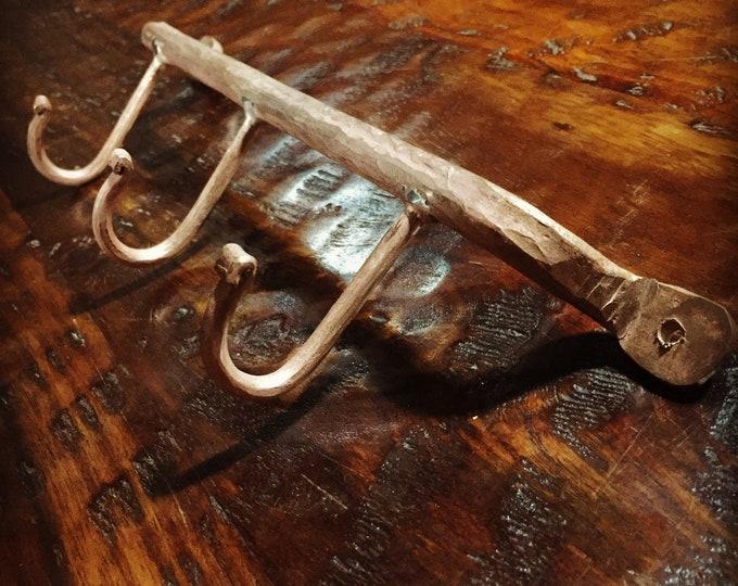 Handcrafted hammered copper coat rack / towel holder