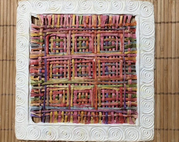 Handmade Amate Paper Wall Art with multicolor woven grid pattern