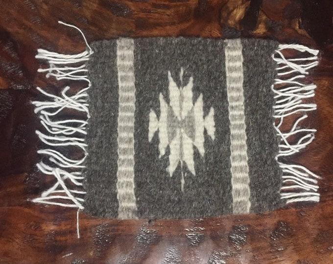 "Zapotec hand woven merino wool coaster (5 1/2"" x 5"")"