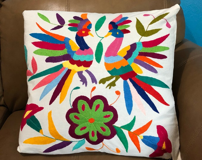 """Otomi hand embroidered 17"""" x 16"""" pillow case with birds and flower design"""