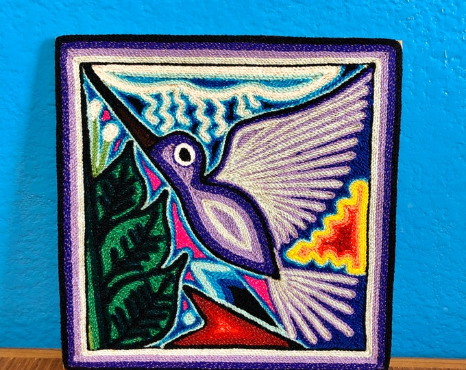 """Huichol Yarn Art 6"""" x 6"""" - Hummingbird with Prayer Arrow from Nayarit, Mexico"""