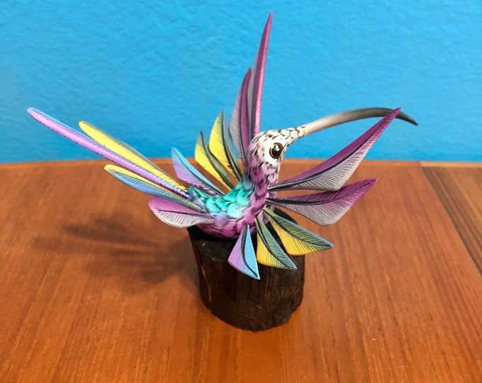 Alebrije Lavender Hummingbird with stand by Roberto and Esperanza Martinez