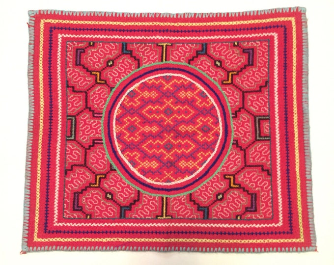 "Peruvian hand embroidered Shipibo placemat (approx. 16"" x 14"")"