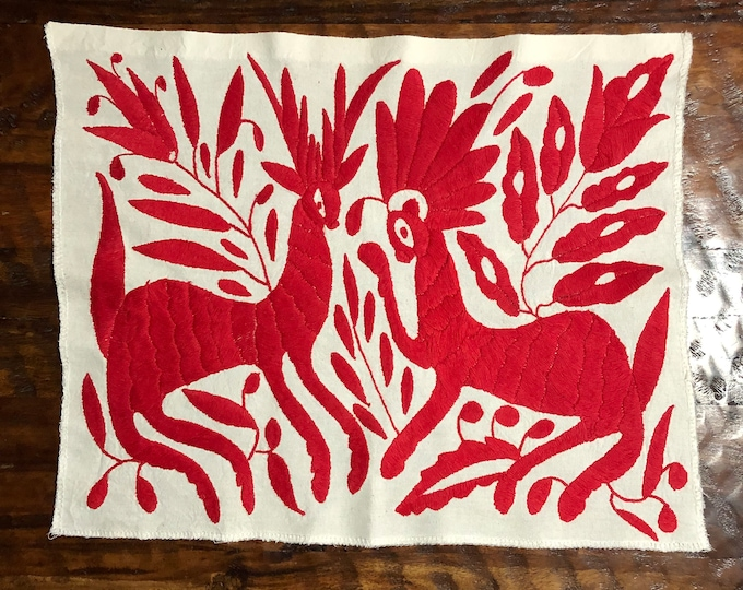 """Hand embroidered Otomí placemat /frame-able art (approx. 17"""" x 14""""- red)"""