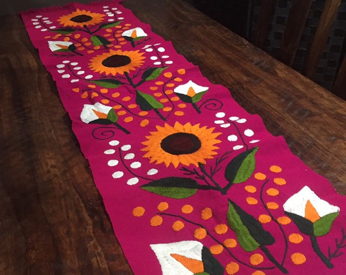 Sunflower Hand Embroidered Table Runner - Fuchsia