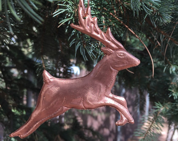 Handcrafted Pure Hammered Copper Reindeer Christmas Tree Ornament